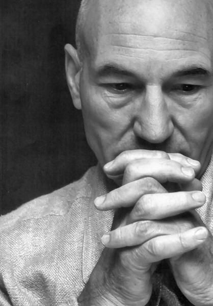 Patrick Stewart-pensive here, but he has a lot to think about these days since he has taken on the issue of domestic violence by giving numerous talks and describing his own experience as a child watching his father beat up his mother. A a compassionate, courageous man...