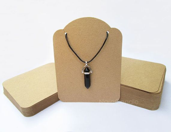 100Pcs Necklace Packing Card DIY Double Fold Kraft Paper Tags Rectangle Card