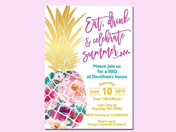 pineapple summer invitation summer bbq invitation pool party aloha