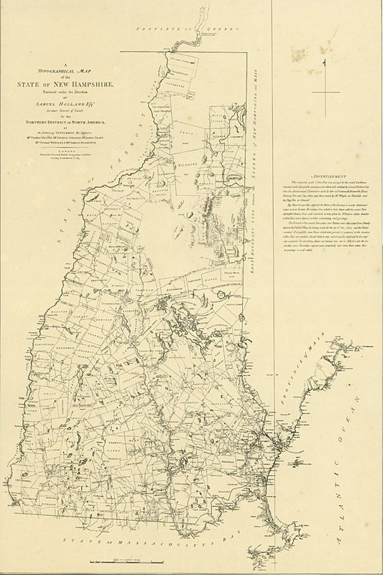 Netherlands Topographic Map.From Hitchcock Atlas Of New Hampshire Geology 1878 Samuel Holland