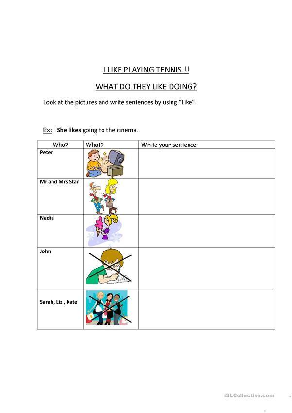 Like / Doesn\'t like worksheet - Free ESL printable worksheets made ...