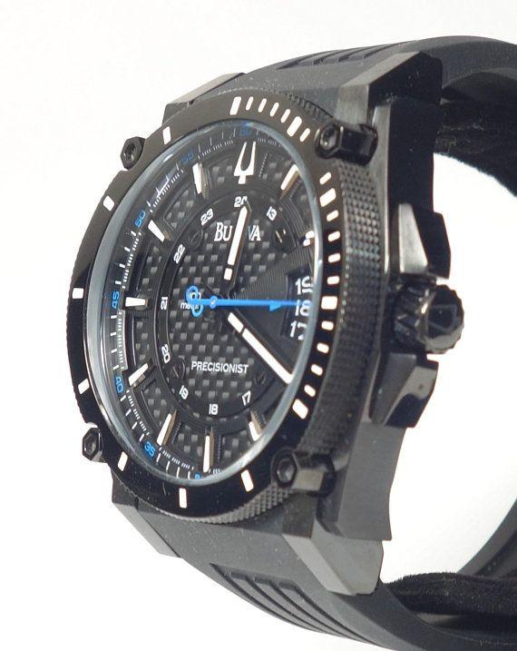 f90dbc5c31e Men s Bulova Precisionist Black Ion Plated Black Carbon Fiber Dial Quartz  Date Watch   Original Box