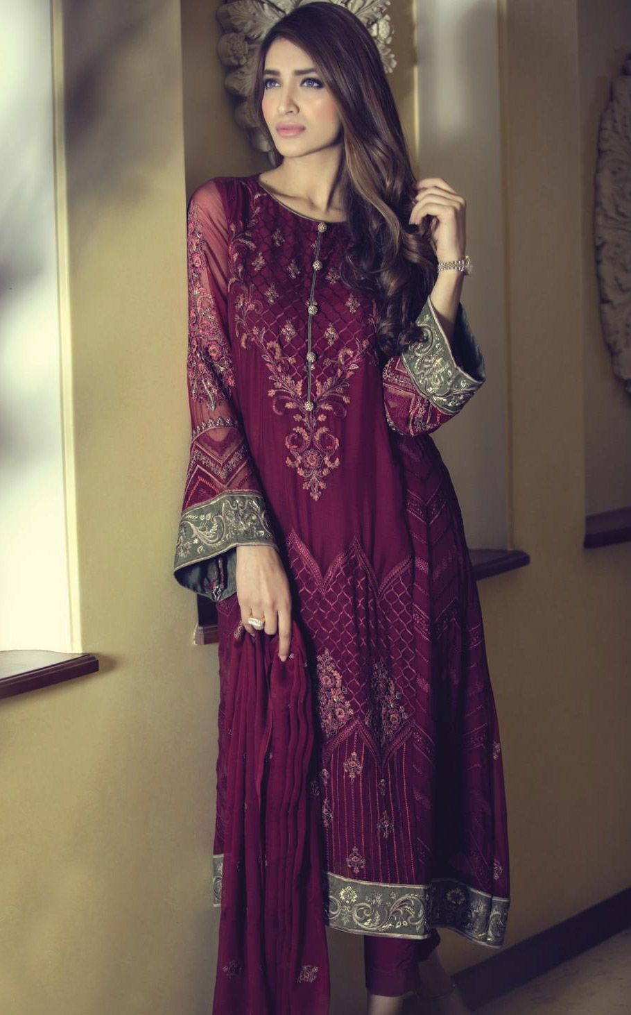 aadbe354e2 Buy Magenta Embroidered Chinese Chiffon A-Line Dress by Maria B. Chiffon  Collection 2015.