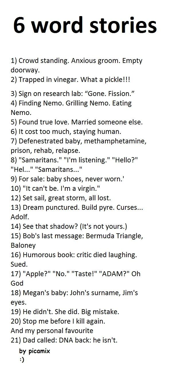 6 word story   Writing Inspiration   Pinterest   Search and Words