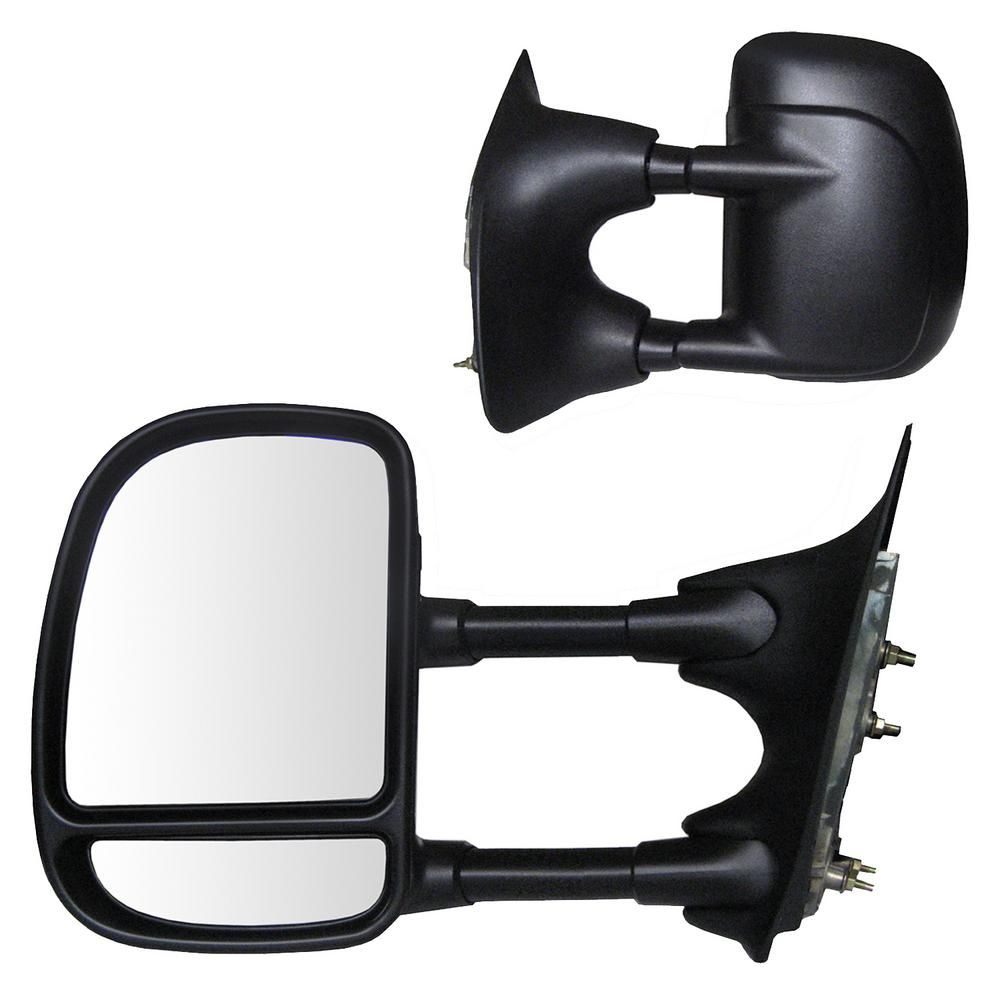 APDTY 066607 Side View Mirror Assembly Fits Left 1999-2007 Ford F250 F350 2000-2005 Excursion Textured Black Finish; Power-Adjust Glass; Heater; Double Swing; Replaces 3C7Z-17683-EAA, 3C7Z17683EAA