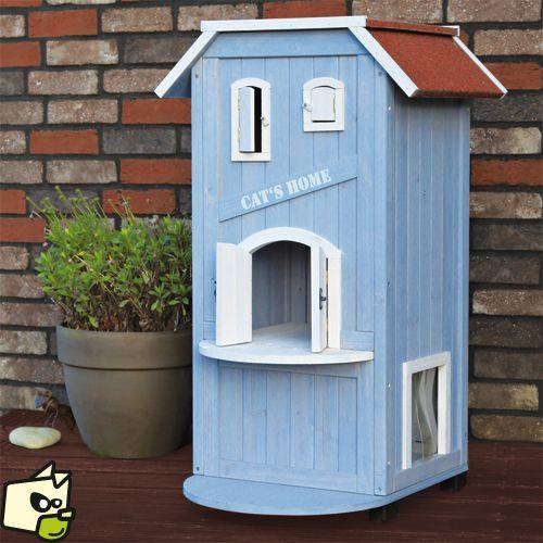 cat 39 s home niche maison en bois pour chat dog cat cat. Black Bedroom Furniture Sets. Home Design Ideas