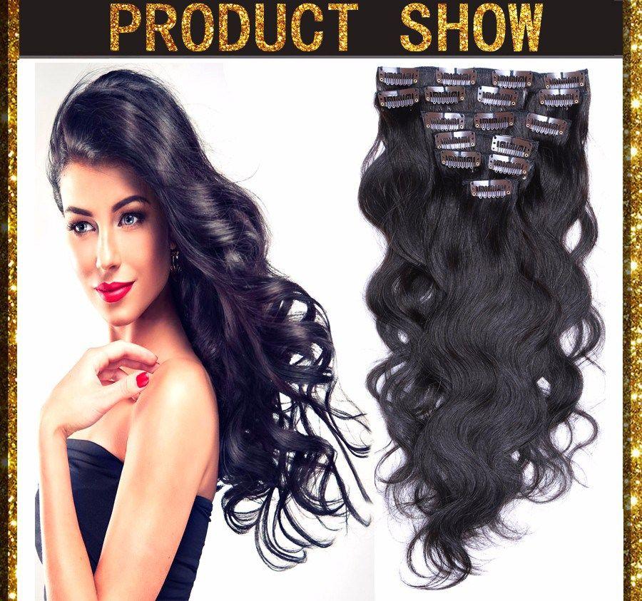 Clip In Real Human Remy Hair Brazilian Virgin Hair Body Wave Clip In