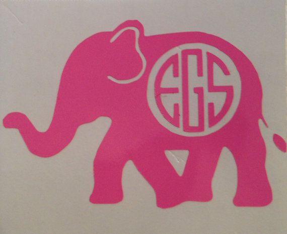Monogrammed Elephant Decal For Laptops Cars By StitchinMonograms - Elephant monogram car decal