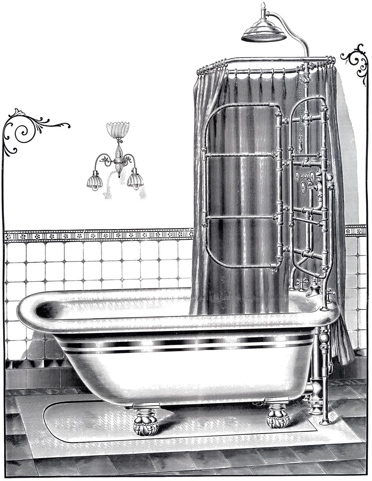 5 Vintage Bathtub And Bath Time Images Vintage Bathtub Bathroom Art Prints Bathroom Art Printables