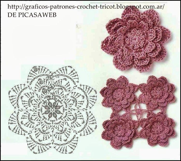 PATRONES=GANCHILLO = CROCHET = GRAFICOS =TRICOT = DOS AGUJAS: FLOR A ...