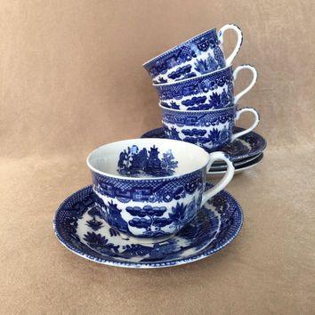 Blue Willow Tea Set Black Stamp Japan Vintage China