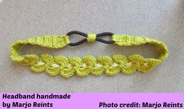 Crochet head band with flower, having an elastic at the back for a ...