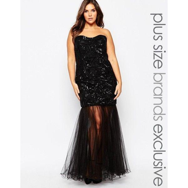 Forever Unique Plus Embellished Bandeau Fishtail Maxi Dress ($484 ...