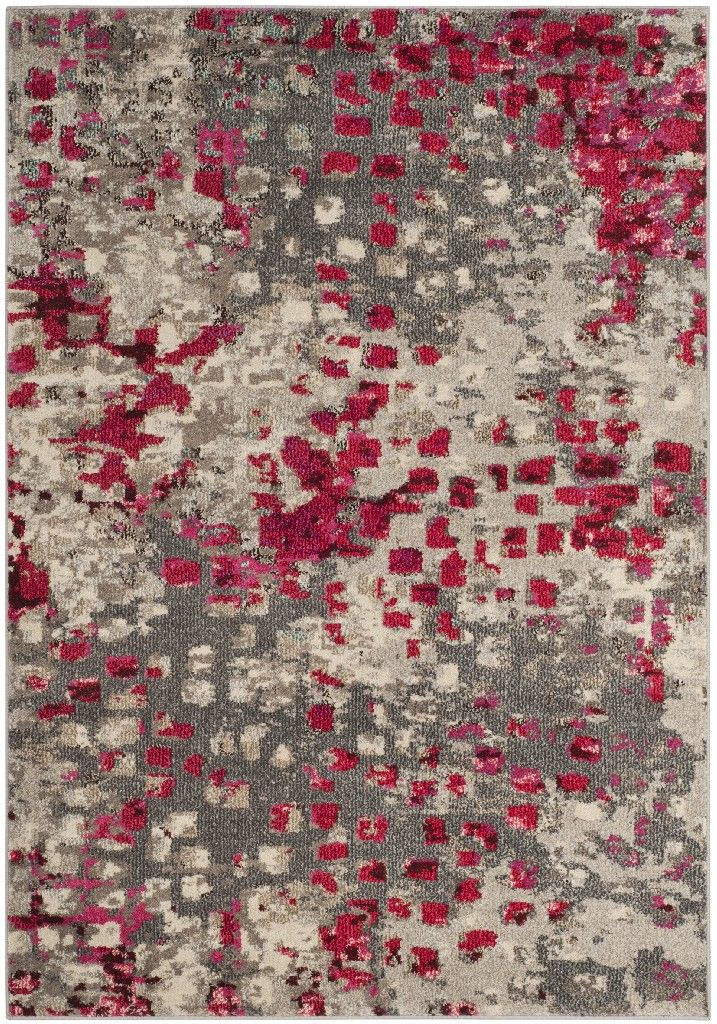 Monaco Collection 3' X 5' Rug in Grey And Fuchsia - Safavieh MNC225R-3