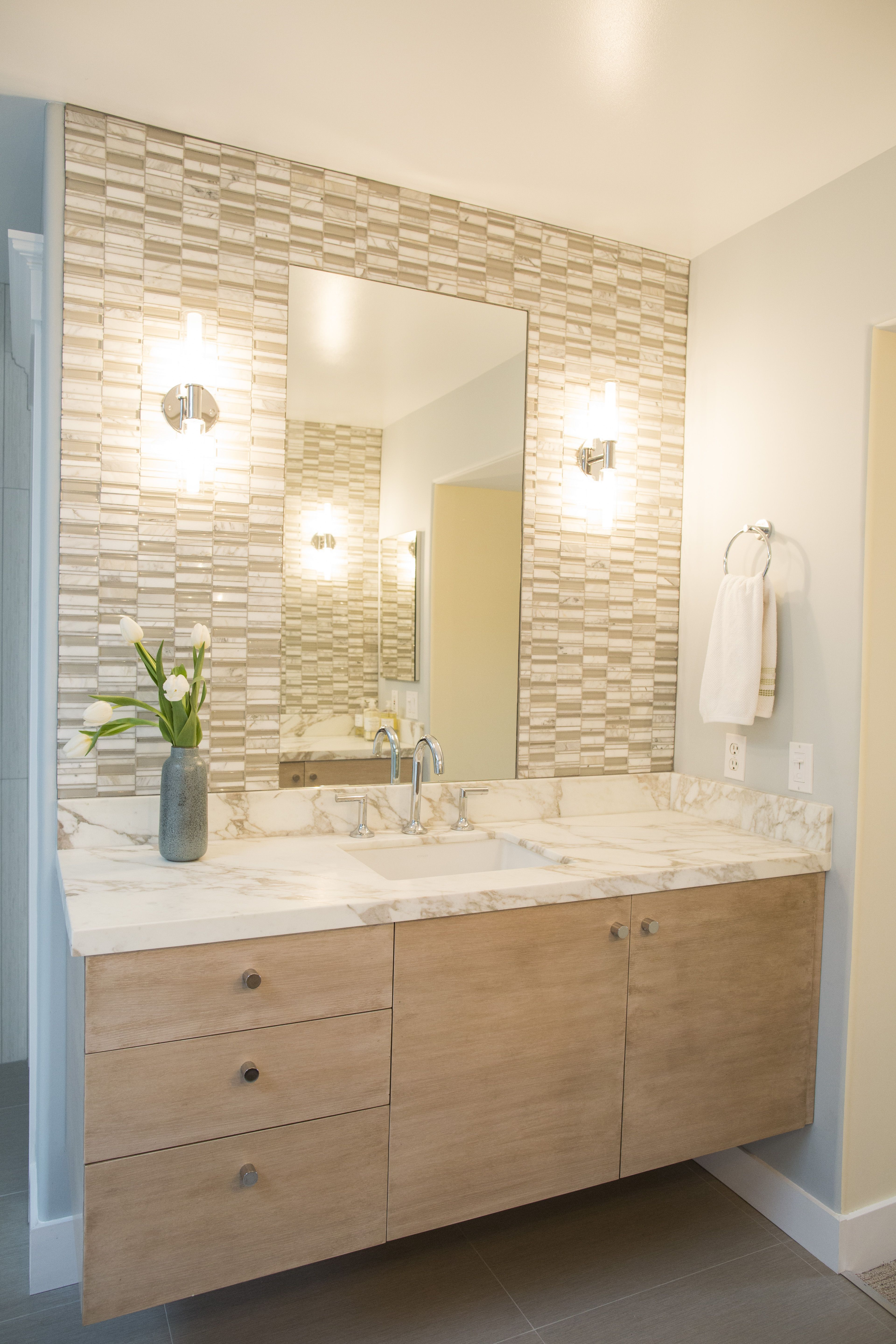 - White Oak Vanity With Calacatta Marble Top, Calacatta Marble And