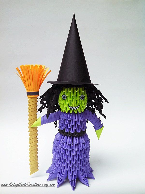 3d Origami Halloween Witch Ghost Pumpkin Head Devil By ArtsyHandsCreations On Etsy