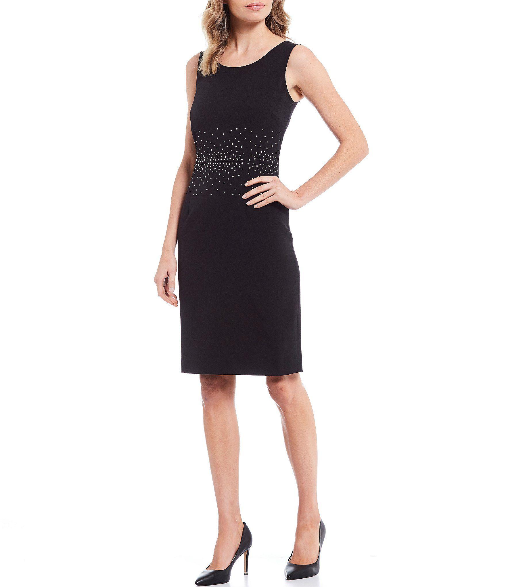 Kasper Petite Size Stretch Crepe Stud Trim Detailed Jewel Neck Sleeveless Dress | Dillard's