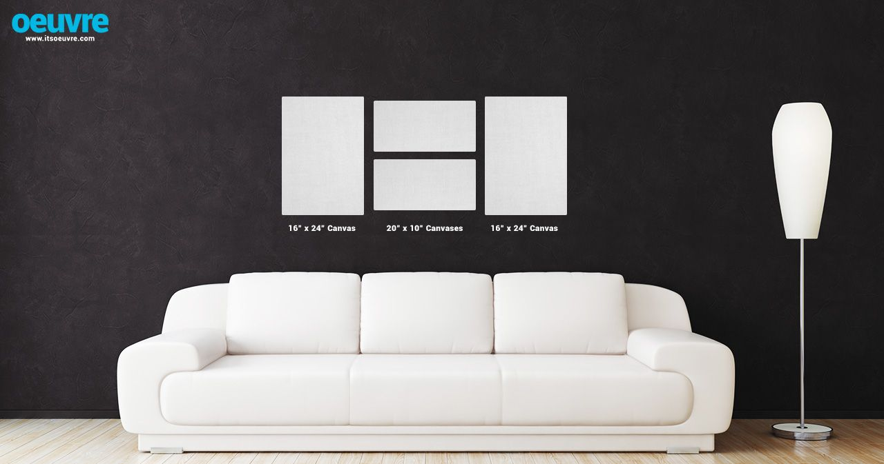 canvas photo wall layout using two 16 x 24 and two 10 x