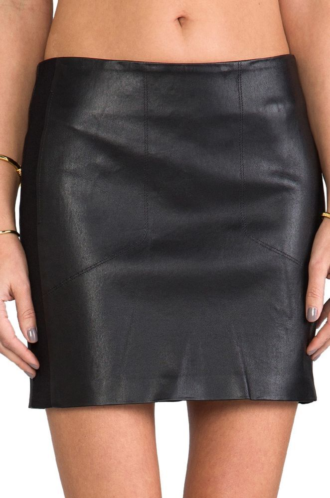 New Black Leather Pencil Skirt Seamless Lambskin Hits Knee Women ...