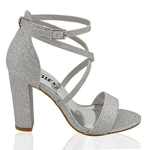 5ad94409690 Essex Glam Womens Strappy Block Heel Silver Glitter Ankle Strap Sandals 8 B(M)  US