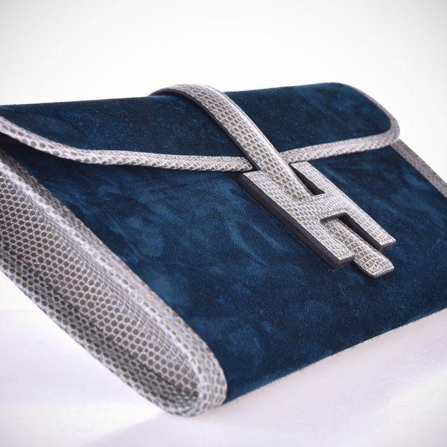 Fancy - Hermes Jige Elan 29cm Bleu Ocean / Gris Fonce Lizard Veau Doblis