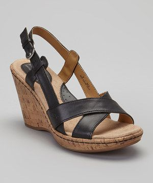 fcddb599067 Another great find on  zulily! Black Kelly Leather Slingback Wedge ...