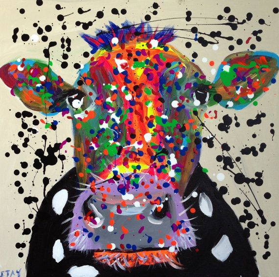 Abstract Cow Painting 20x20 Inch Animal Painting Original Acrylic On Canvas Painting Colorful Pop Art Cow Animal Fine Art Cow Painting Animal Paintings Cow