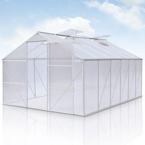 Kasvihuone 10 m2, 529,86€. Liukuovellinen kasvihuone helposti koottavalla alumiinirungolla. Seinä- ja kattopaneelit ovat onttoa polykarbonaattilevyä, joka on hyvin lämpöä eristävää ja iskunkestävää. Katossa kätevä tuuletusikkuna. Ilmainen toimitus! #kasvihuone