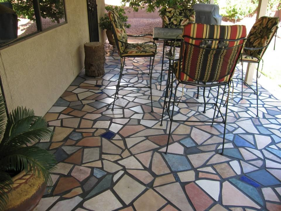 Joni Kisro This Is My Patio That I Mosaic Tiled I Went To Several Tile Stores And They Gave Me Their Broken And Discont Mosaic Flooring Patio Patio Flooring