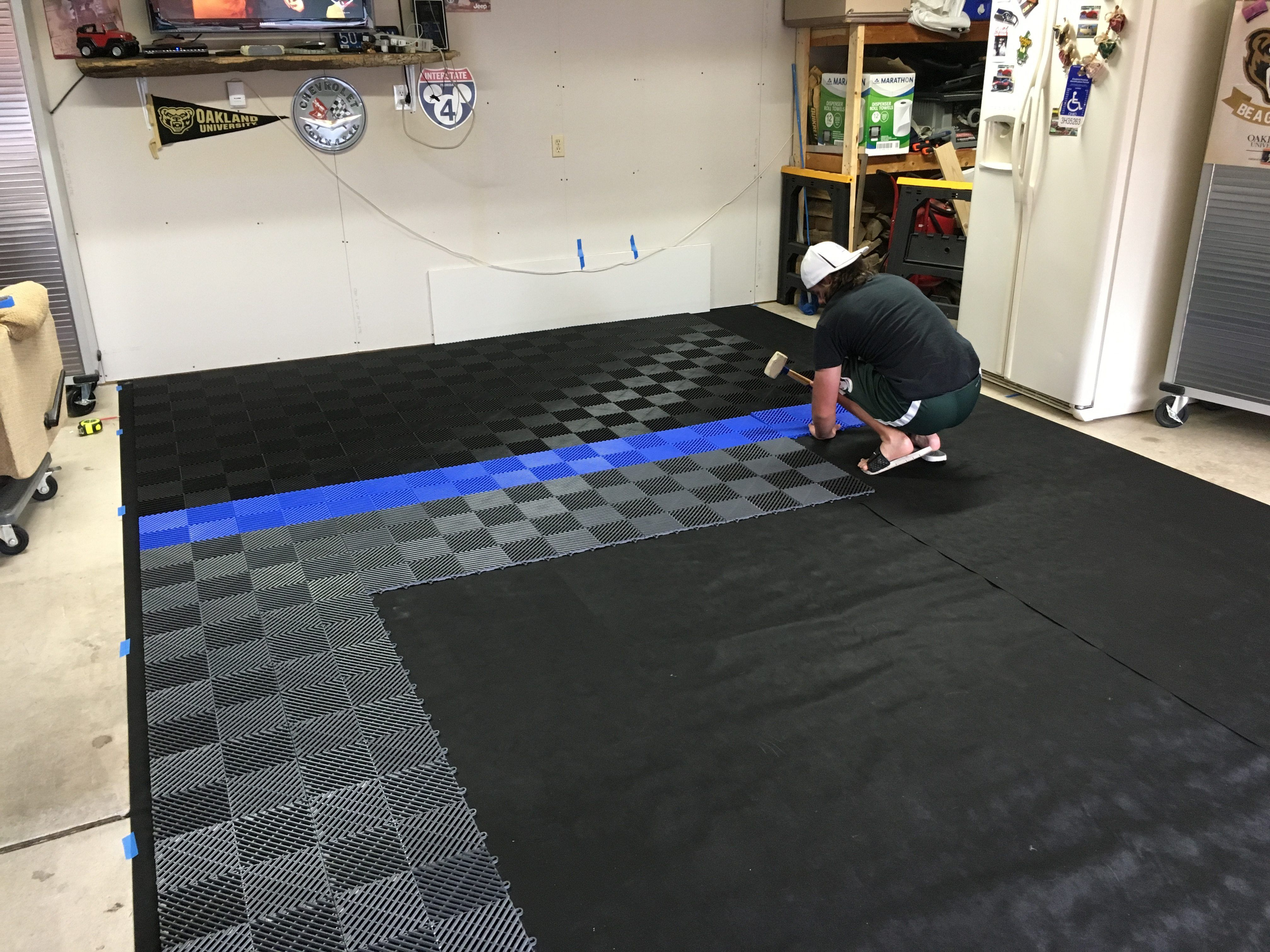 Swisstrax garage flooring ribtrax tile pearl silver racing red before and after racedeck free flow brians garage tile garageflooring dailygadgetfo Images