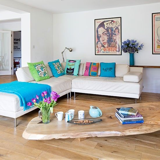 White Living Room With Oak Floor, Cream Leather Sofa, Colourful Cushions And  Wood Coffee Nice Look
