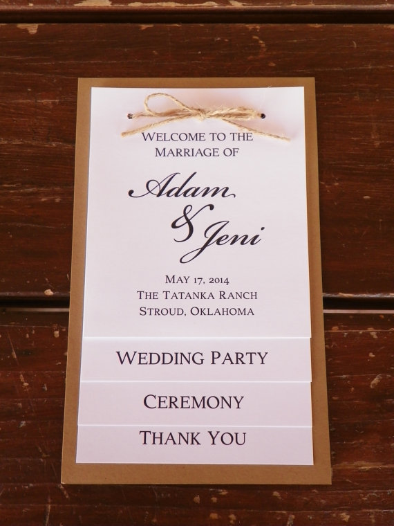 Tiered Wedding Program Wedding Party Thank You Card Rustic Wedding Program Rustic Wedding Programs Wedding Programs Wedding Ceremony Programs