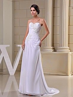 Sequined and Appliqued Strapless Chiffon Bridal Dress - USD $139.00