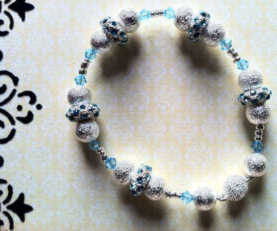 Dusted silver & baby blue Swarovski crystal bracelet by Acacia Bella on Etsy, $28.00
