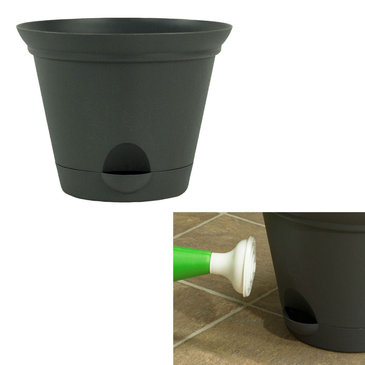 misco 10 inch flat gray plastic self watering flare flower pot or