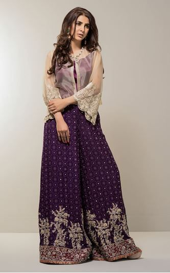 Picture of Gold and plum ensemble dress