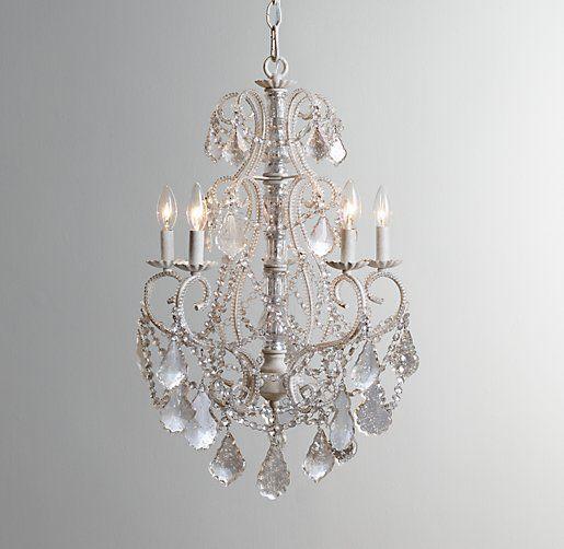 Aislynn mercury glass chandelier in white by restoration hardware aislynn mercury glass 5 arm chandelier white aloadofball Choice Image