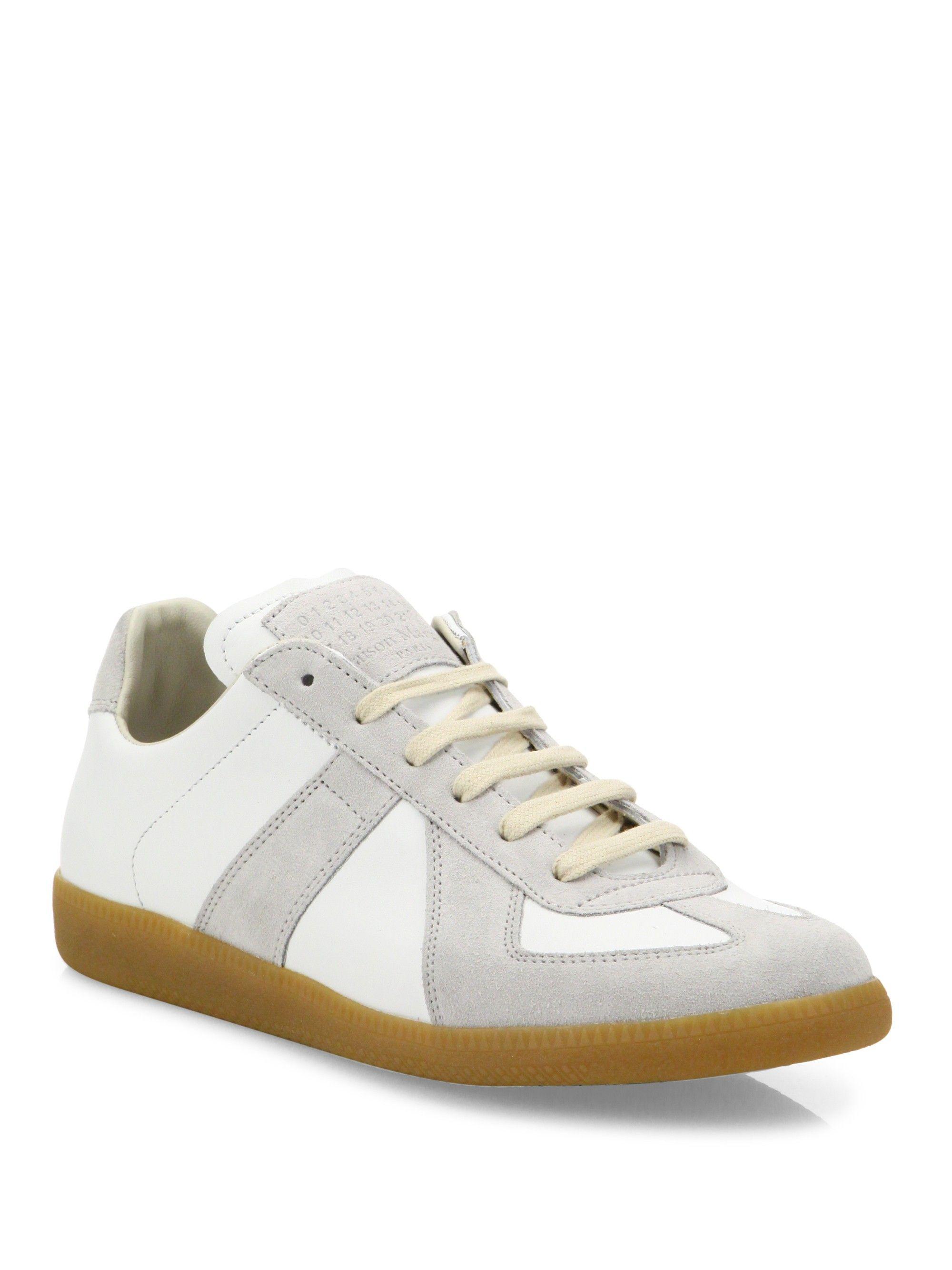 7674c426d67 Maison Margiela Replica Leather & Suede Low-Top Sneakers - Blue 41 ...