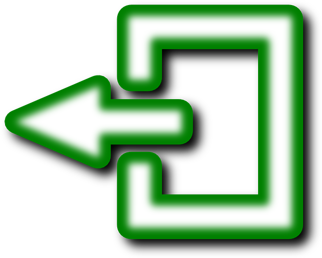 back, exit, logout, symbol, green, white | Clipart idea