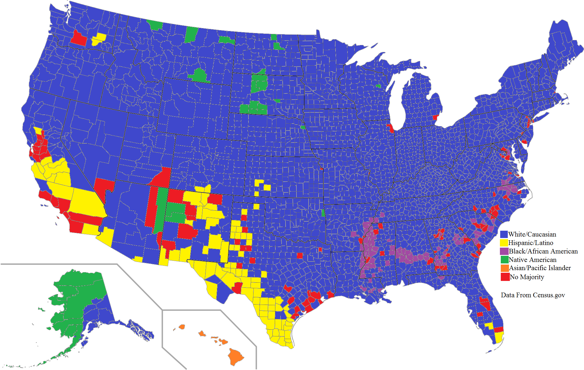 An Ethnic Map Of The United States By County Majority MAPS - Us map redrawn by population