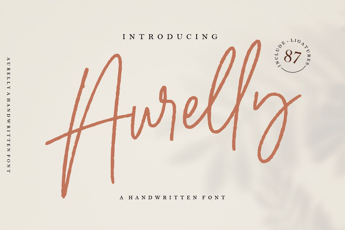 Aurelly Handwritten Font By Geraniumspace On Etsy In 2021 Signature Fonts Free Script Fonts Signature Design