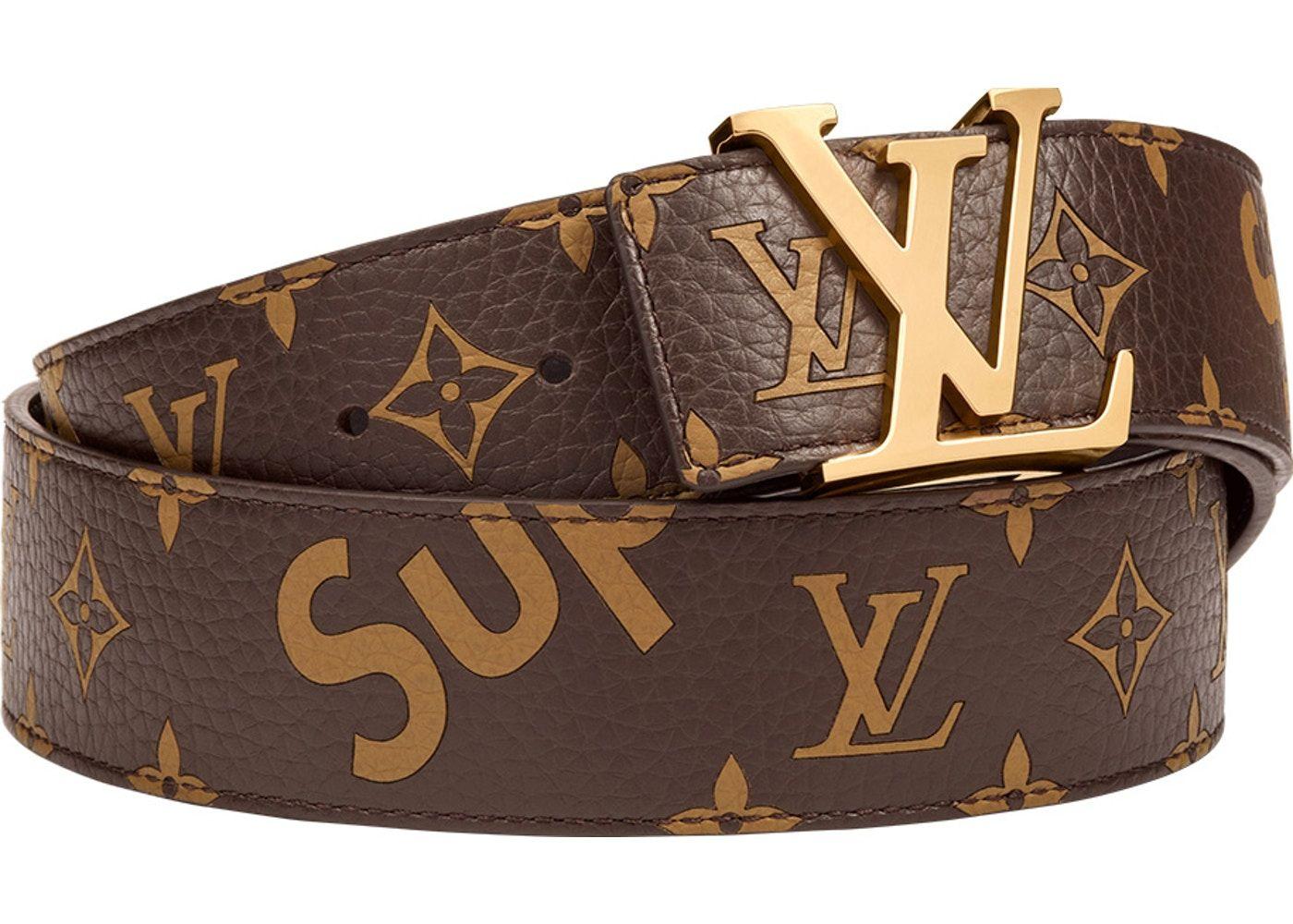 Photo of Louis Vuitton x Supreme Initiales Belt 40 MM Monogram Brown Gold