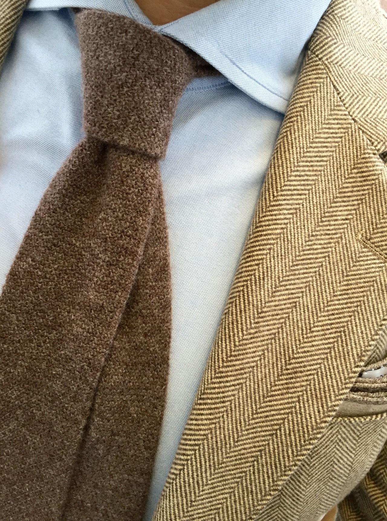 Boys Walnut Brown Herringbone Check Tie Tweed