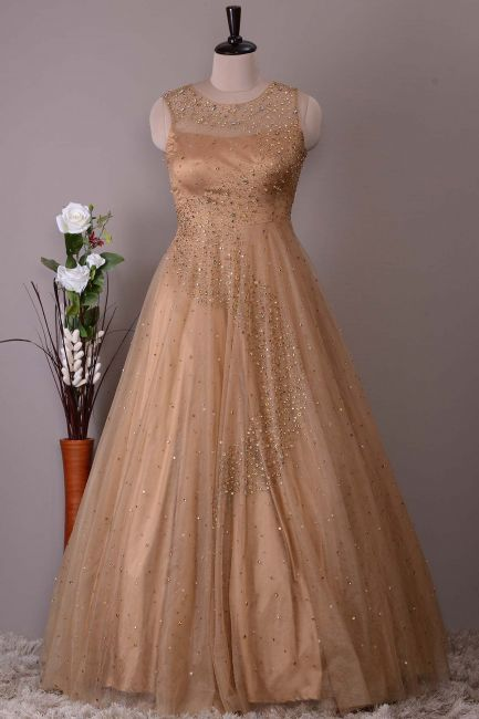 bbe15f7eafe Gold Net Sequins Embroidered Evening Gown-VK1887