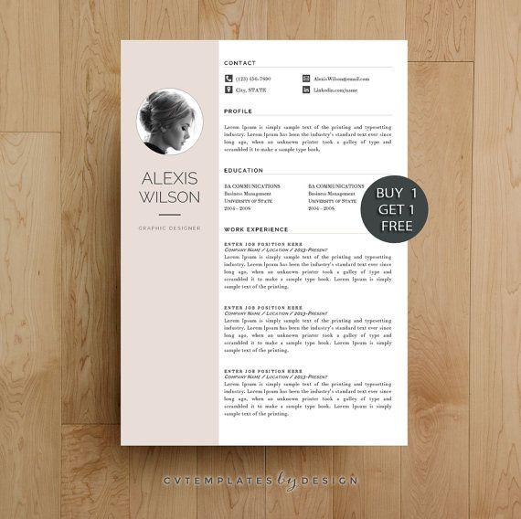Creative Resume Template Cv Template For Ms By Cvtemplatesbydesign