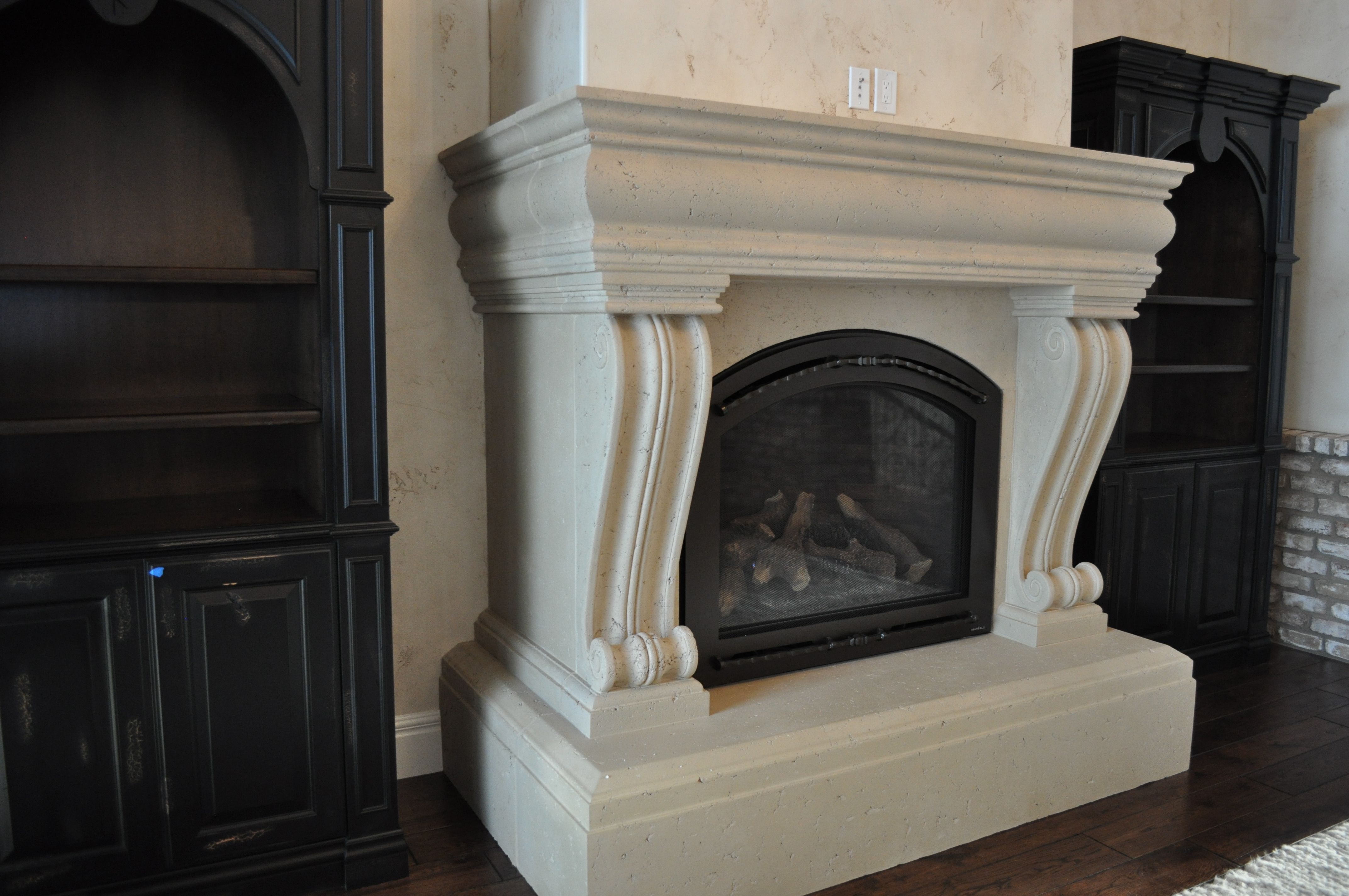 cast creamy vision marble calacatta tile htm for images fireplace surround with black stone mantels design