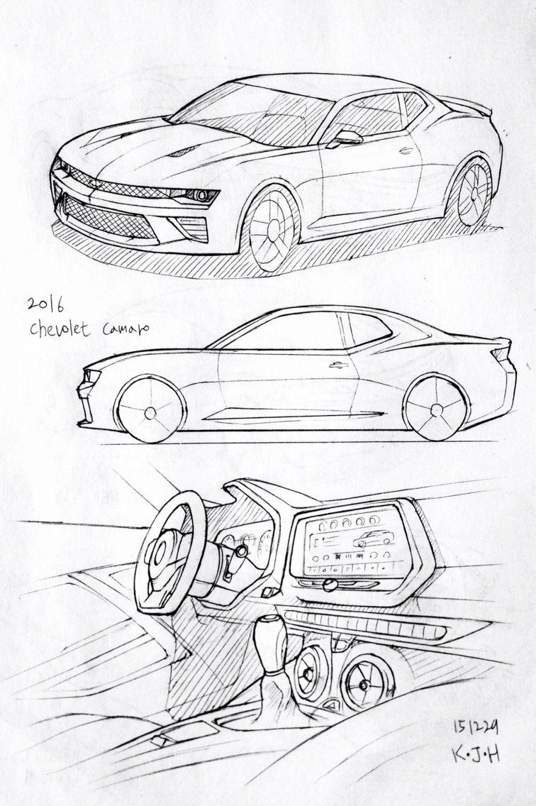 Car drawing 151229.  2016 Chevolet Camaro.   Prisma on paper.  Kim.J.H