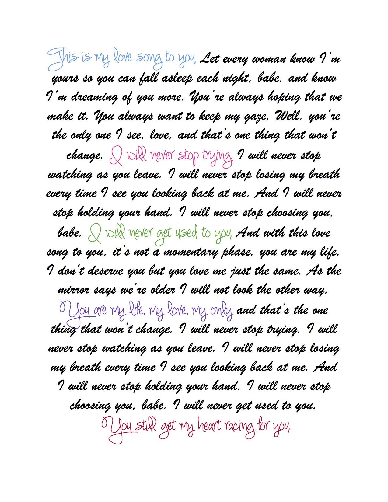 Never Stop Wedding Version Safetysuit My All Time Favorite Song Hoping Someday Someone Will Feel This Way About Me Lyrics To Live By Wedding Songs Songs
