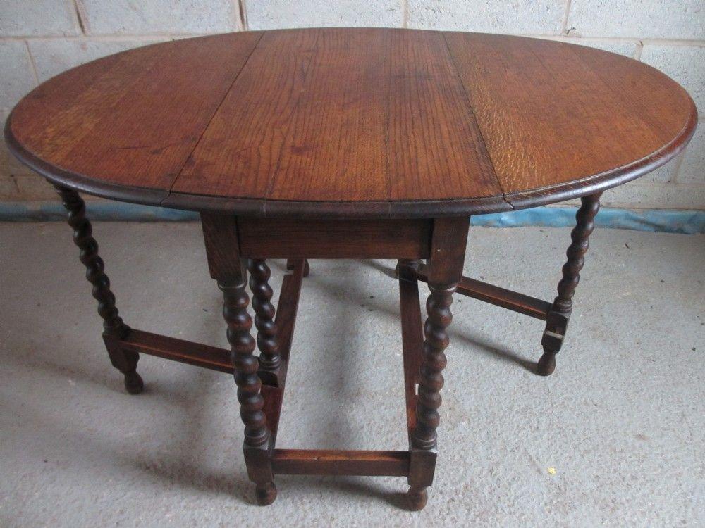Oak Barley Twist Oval Gateleg Drop Leaf Dining Table Furniture Pieces