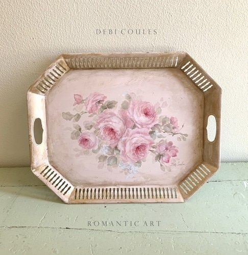 Photo of Vintage  Antique Shabby Chic Pink Roses Panel by Debi Coules